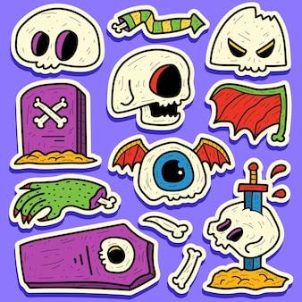 Ręcznie rysowane doodle halloween projekt naklejki kreskówki