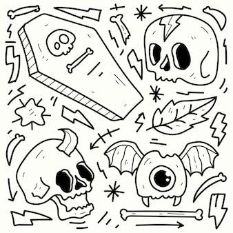 Ręcznie rysowane doodle halloween rysunek do kolorowania