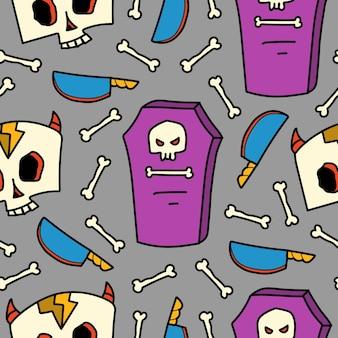 Ręcznie rysowane doodle halloween wzór kreskówki