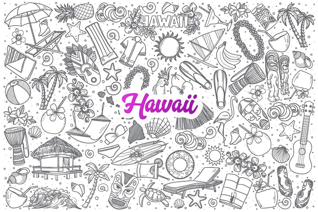 Ręcznie rysowane doodle hawaje ustawić tło z fioletowym napisem