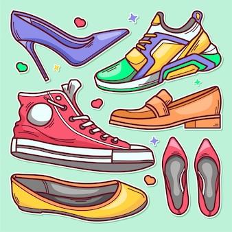Ręcznie rysowane doodle ikony buty naklejki