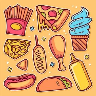 Ręcznie rysowane doodle ikony fast food naklejki