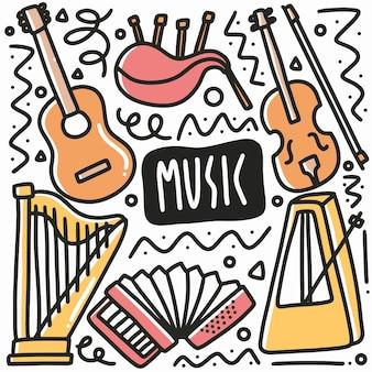 Ręcznie rysowane doodle instrument muzyczny zestaw z ikonami i elementami projektu