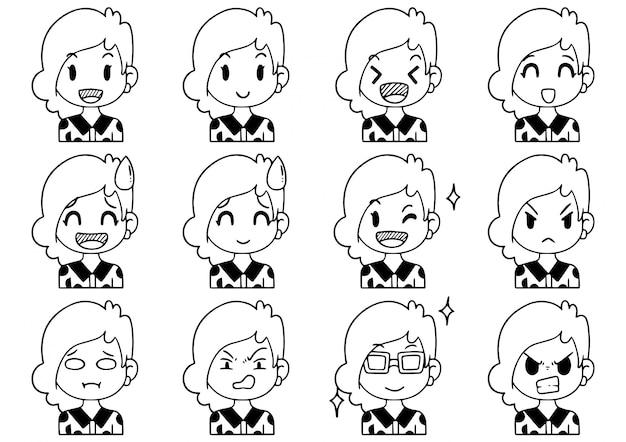 Ręcznie rysowane doodle kolekcja kreskówka