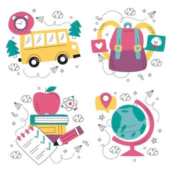 Ręcznie rysowane doodle kolekcja naklejek edukacji