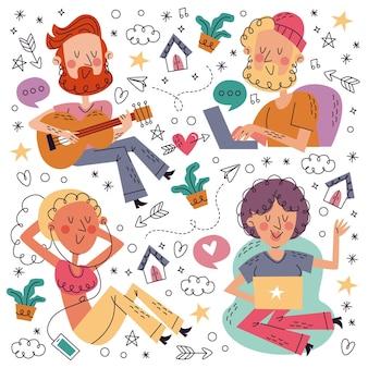 Ręcznie rysowane doodle kolekcja pozostań w domu