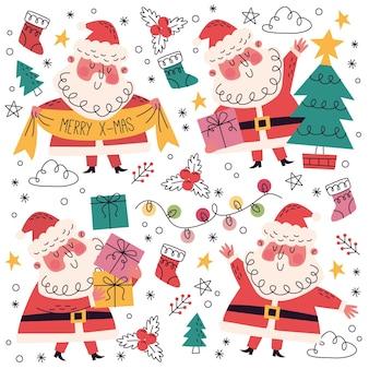 Ręcznie rysowane + doodle kolekcja świąteczna