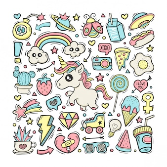 Ręcznie rysowane doodle kolor jednorożce