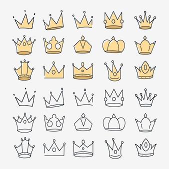 Ręcznie rysowane doodle korona ikona wektor zestaw