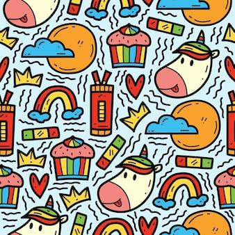 Ręcznie rysowane doodle kreskówka jednorożca ładny rysunek wzór projektu