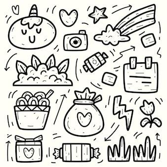 Ręcznie rysowane doodle kreskówka jednorożec projekt