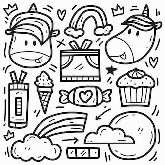 Ręcznie rysowane doodle kreskówka jednorożec rysunek projekt