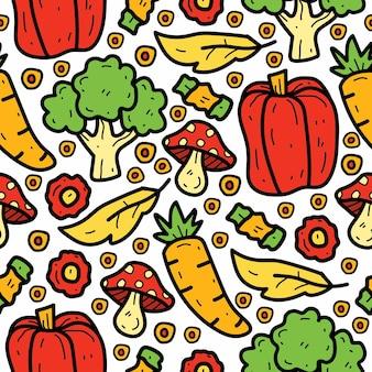 Ręcznie rysowane doodle kreskówka wzór warzyw