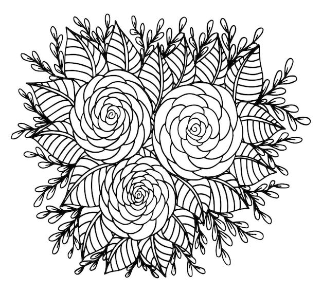 Ręcznie rysowane doodle kwiatowy ilustracja