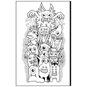 Ręcznie rysowane doodle ładny potwór