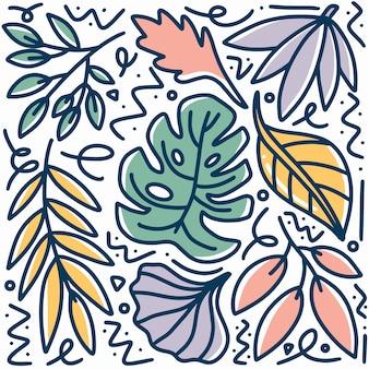 Ręcznie rysowane doodle liść zestaw z ikonami i elementami projektu