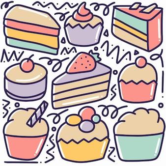 Ręcznie rysowane doodle menu desery zestaw z ikonami i elementami projektu