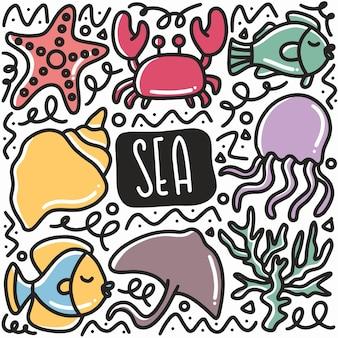 Ręcznie rysowane doodle morze biota zestaw z ikonami i elementami projektu