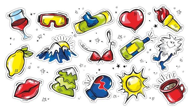 Ręcznie rysowane doodle pakiet naklejek