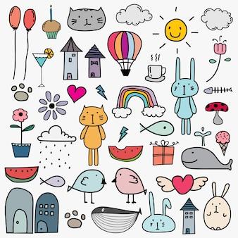 Ręcznie rysowane doodle piękny wektor zestaw dla dziecka