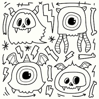 Ręcznie rysowane doodle potwór kreskówki do kolorowania