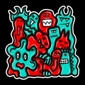 Ręcznie rysowane doodle potwora.