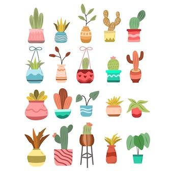 Ręcznie rysowane doodle roślin doniczkowych