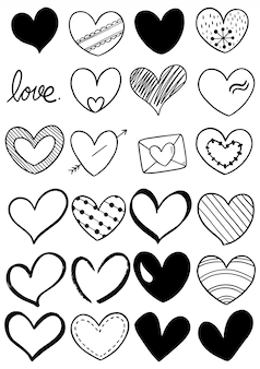 Ręcznie rysowane doodle serce kolekcja