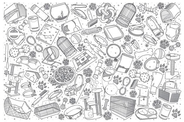 Ręcznie rysowane doodle sklep zoologiczny zestaw