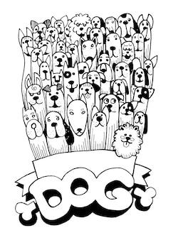 Ręcznie rysowane doodle śmieszne psy