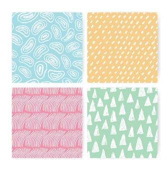 Ręcznie rysowane doodle streszczenie wzór zestaw. kolekcja kolorowych tła o różnych kształtach odręcznych.