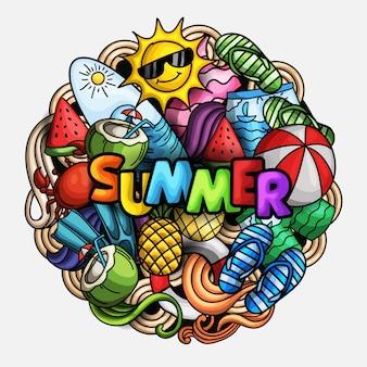 Ręcznie rysowane doodle styl lato