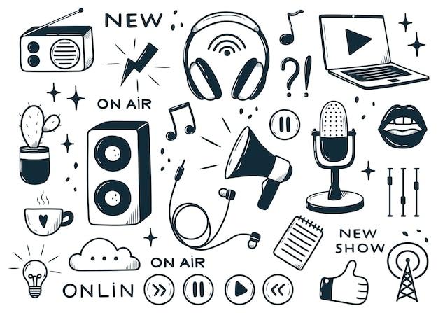 Ręcznie rysowane doodle styl ręka z różnymi elementami koncepcja podcastu podcasting biznes