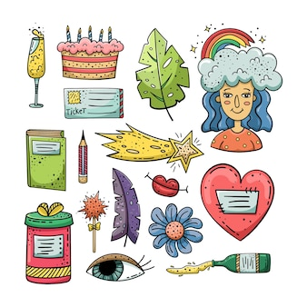 Ręcznie rysowane doodle stylu życia.