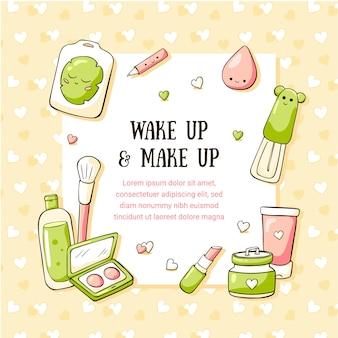 Ręcznie rysowane doodle szablon karty z cute teen kosmetyków