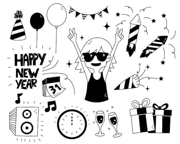 Ręcznie rysowane doodle szczęśliwego nowego roku