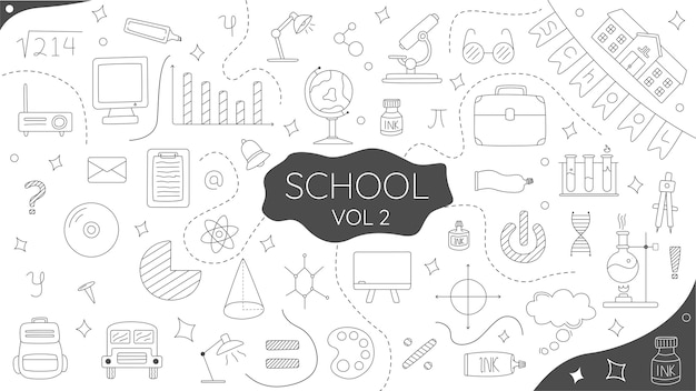 Ręcznie rysowane doodle szkoła vol2 premium