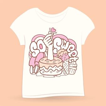 Ręcznie rysowane doodle sztuki na koszulkę