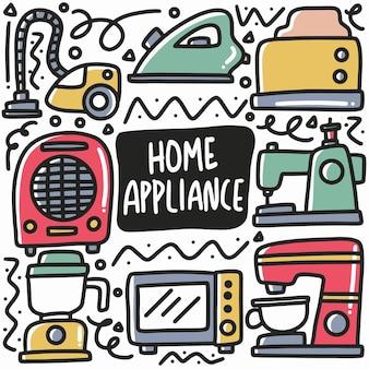 Ręcznie rysowane doodle urządzenia gospodarstwa domowego z ikonami i elementami projektu