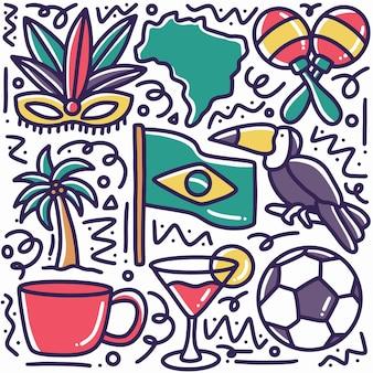 Ręcznie rysowane doodle wakacje brazylia z ikonami i elementami projektu