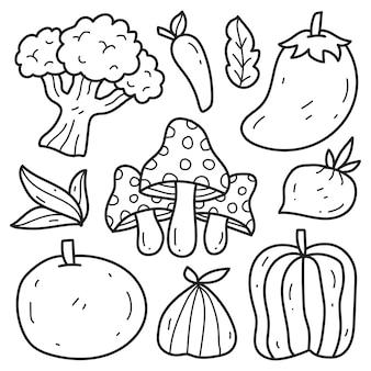 Ręcznie rysowane doodle warzywne kreskówki do kolorowania