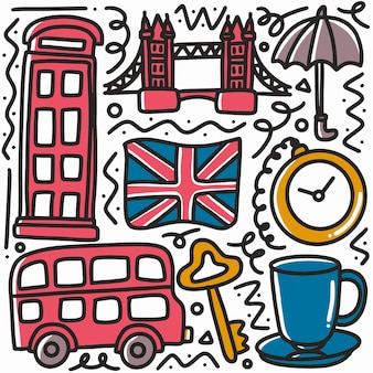 Ręcznie rysowane doodle wielka brytania wakacje z ikonami i elementami projektu