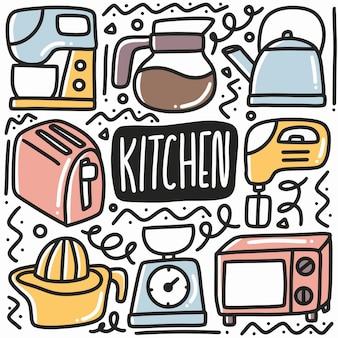 Ręcznie rysowane doodle wyposażenie kuchni zestaw z ikonami i elementami projektu