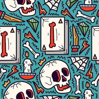 Ręcznie rysowane doodle wzór kreskówka tatuaż czaszki