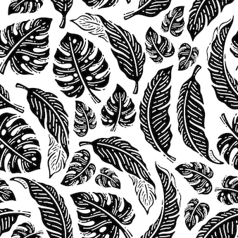 Ręcznie rysowane doodle wzór tropikalnych liści w stylu vintage