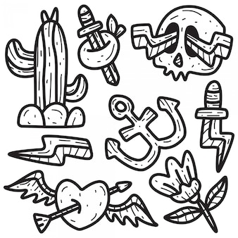 Ręcznie rysowane doodle wzory tatuaży