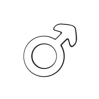 Ręcznie rysowane doodle z męskim symbolem marsa ilustracji wektorowych piktogram płci