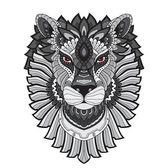 Ręcznie rysowane doodle zentangle lion ilustracji wektorowych.