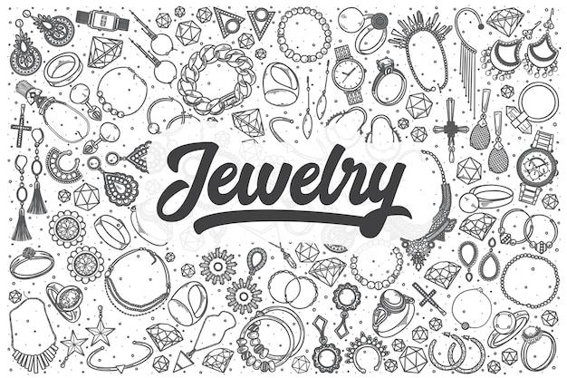 Ręcznie rysowane doodle zestaw biżuterii. napis - biżuteria