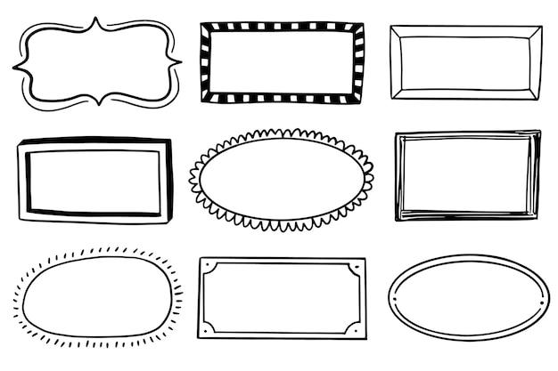 Ręcznie rysowane doodle zestaw ramek